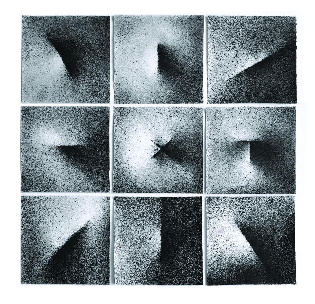 Haiku, rysunek, tusz, poliptyk, 90 × 90 cm, 2017